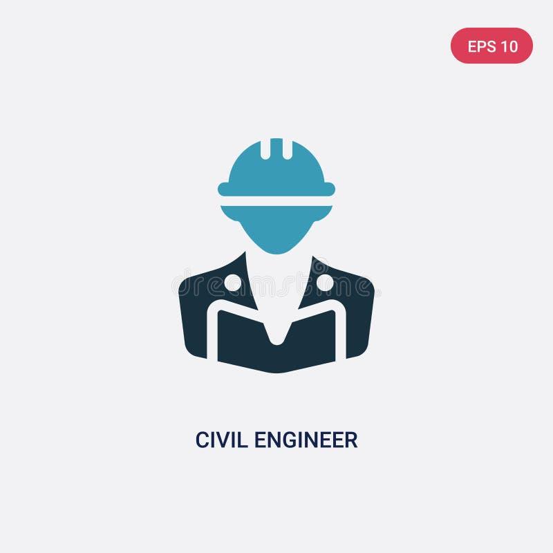 Icône de vecteur d'ingénieur civil de deux couleurs de concept de professions le symbole bleu d'isolement de signe de vecteur d'i illustration de vecteur