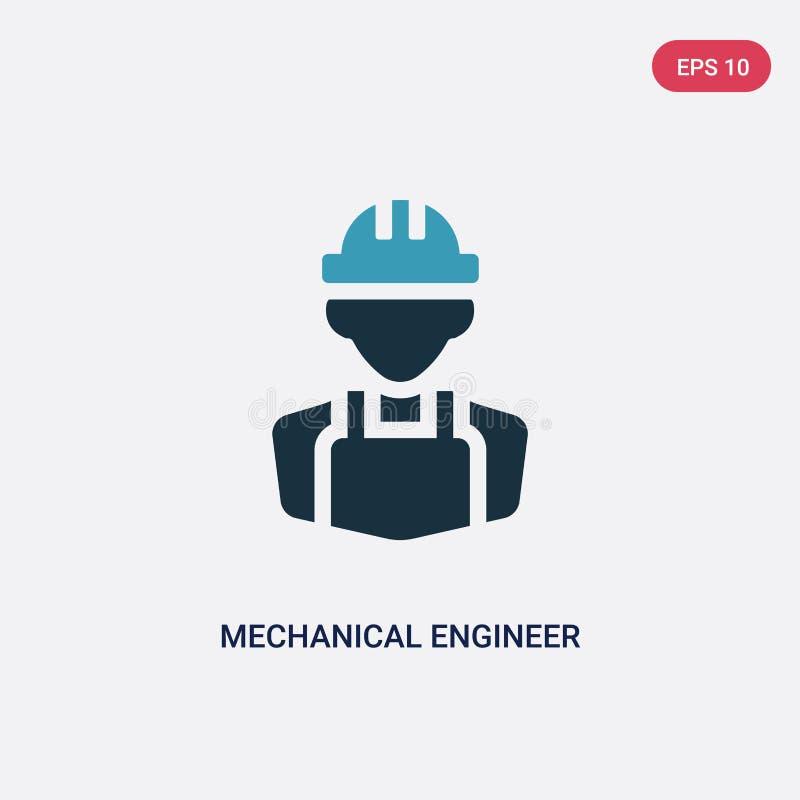 Icône de vecteur d'ingénieur mécanicien de deux couleurs de concept de professions le symbole bleu d'isolement de signe de vecteu illustration stock