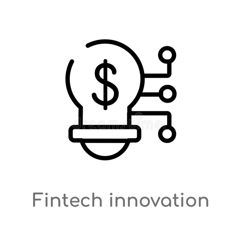icône de vecteur d'innovation de fintech d'ensemble ligne simple noire d'isolement illustration d'élément du concept general-1 Ve illustration libre de droits