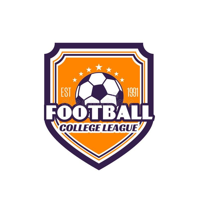 Icône de vecteur d'insigne du football de ligue d'université du football illustration libre de droits