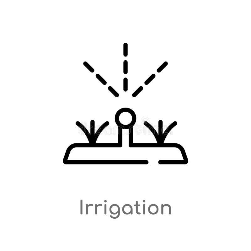 icône de vecteur d'irrigation d'ensemble ligne simple noire d'isolement illustration d'élément de l'agriculture cultivant le conc illustration stock