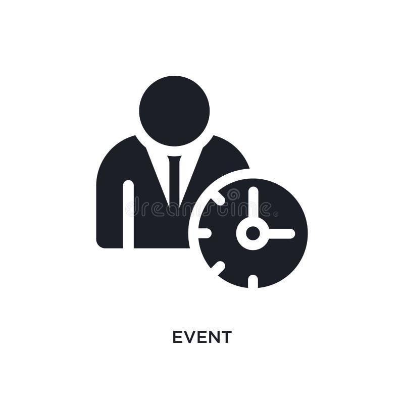 icône de vecteur d'isolement par événement noir illustration simple d'élément des icônes de vecteur de concept de gestion du temp illustration libre de droits