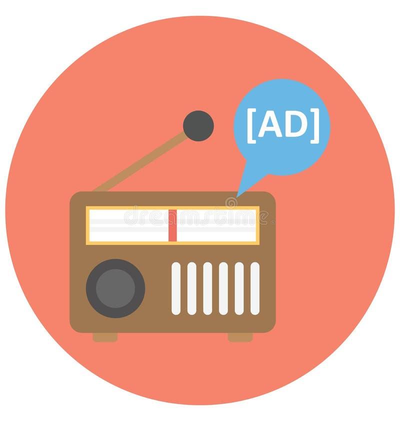 Icône de vecteur d'isolement par annonce par radio qui peut être facilement modifiée ou éditée illustration de vecteur