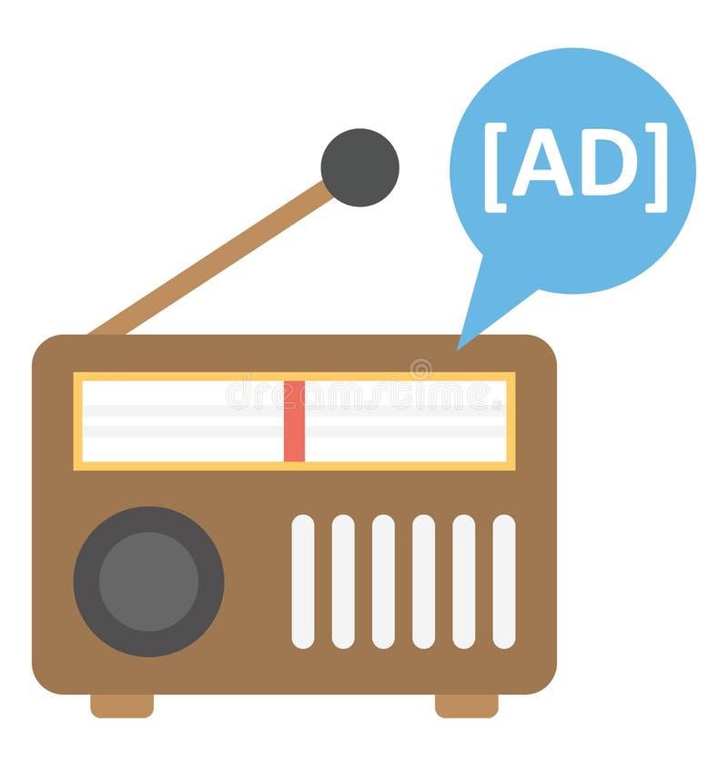 Icône de vecteur d'isolement par annonce par radio qui peut être facilement modifiée ou éditée illustration stock