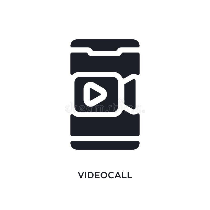 icône de vecteur d'isolement par appel visuel noir illustration simple d'élément des icônes mobiles de vecteur de concept d'appli illustration stock