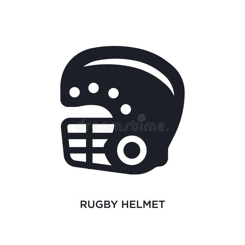 icône de vecteur d'isolement par casque noir de rugby illustration simple d'élément des icônes de vecteur de concept des Etats-Un illustration de vecteur