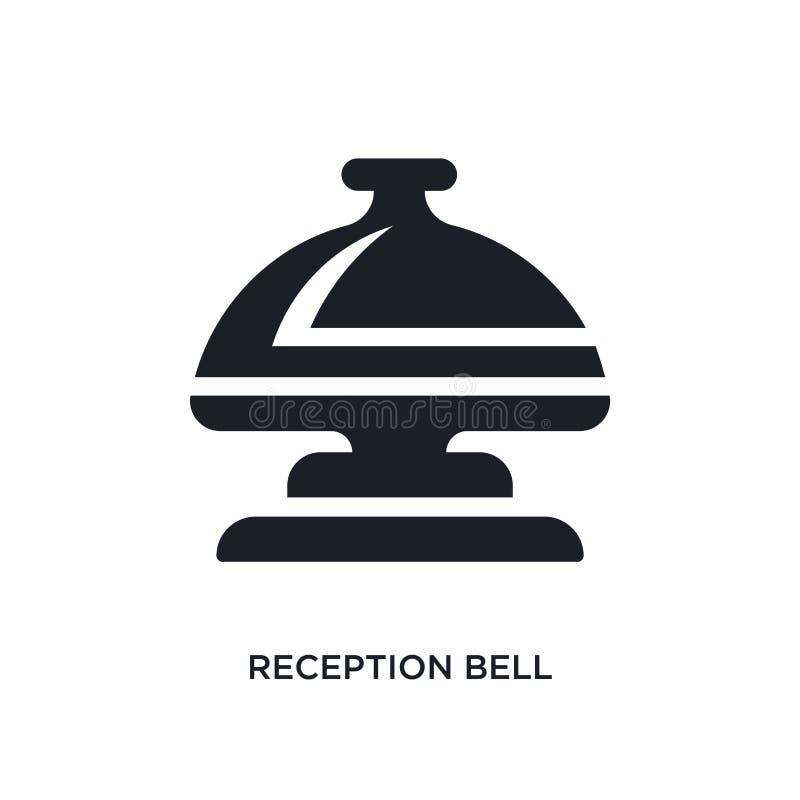 icône de vecteur d'isolement par cloche noire de réception illustration simple d'élément des icônes de vecteur de concept d'hôtel illustration libre de droits