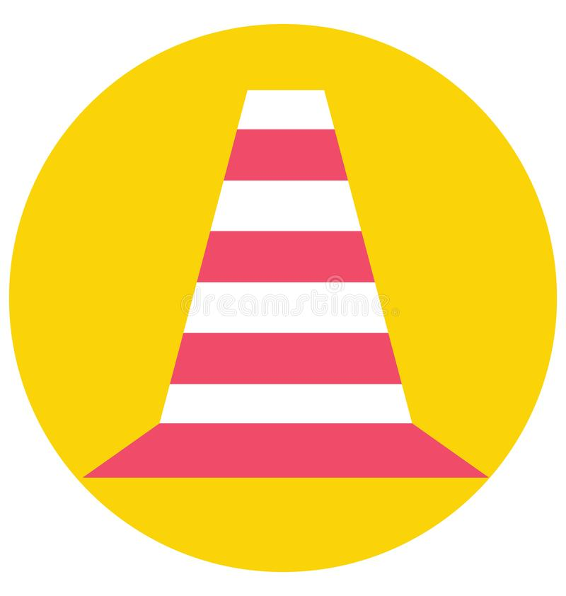 Icône de vecteur d'isolement par couleur de cône du trafic qui peut être facilement modifiée ou éditée illustration de vecteur