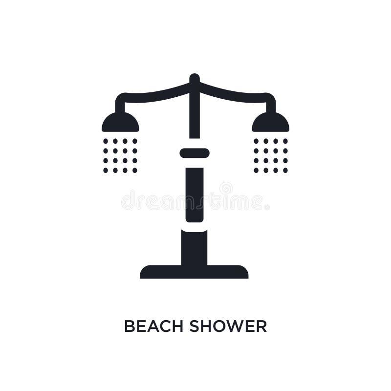 icône de vecteur d'isolement par douche noire de plage illustration simple d'élément des icônes de vecteur d'architecture et de c illustration de vecteur