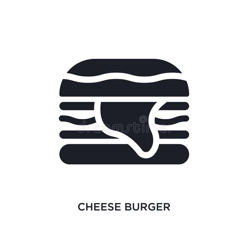 icône de vecteur d'isolement par hamburger noir de fromage illustration simple d'élément des icônes de vecteur de concept d'hôtel illustration stock