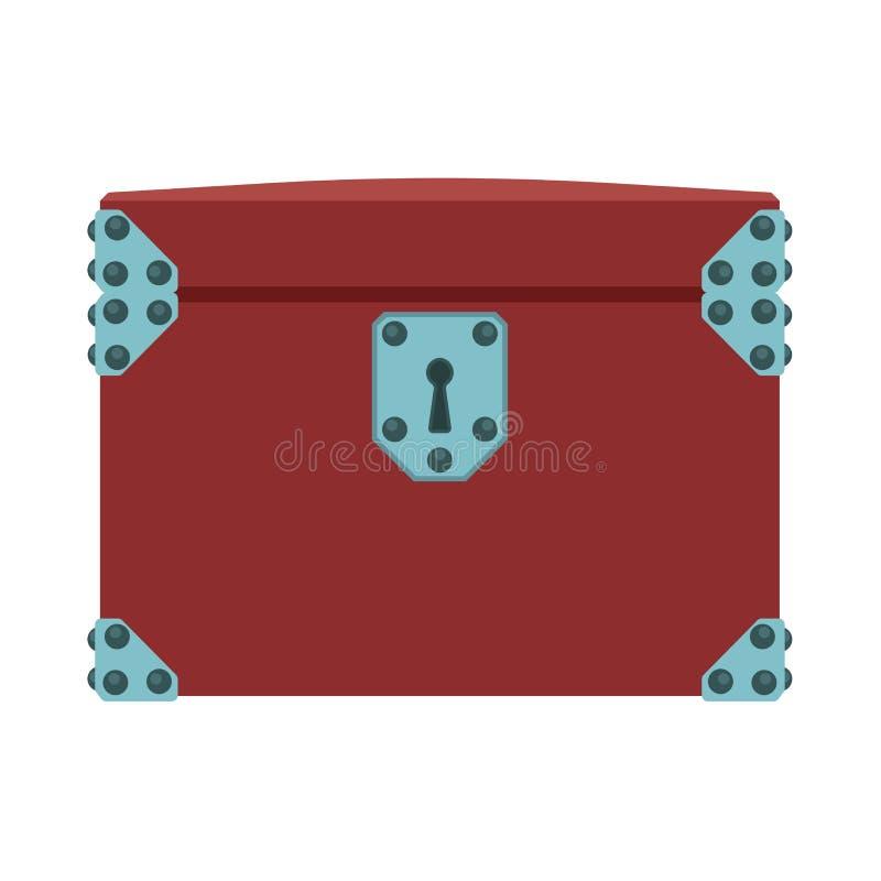 Icône de vecteur d'isolement par illustration de trésor de boîte de coffre Argent en bois de pirate de brun de serrure de richess illustration stock