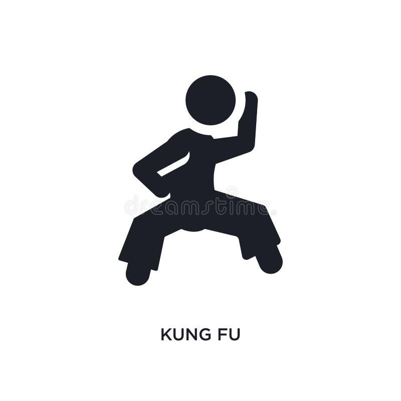 icône de vecteur d'isolement par kung-fu noir illustration simple d'?l?ment des ic?nes de vecteur de concept de sport symbole edi illustration libre de droits