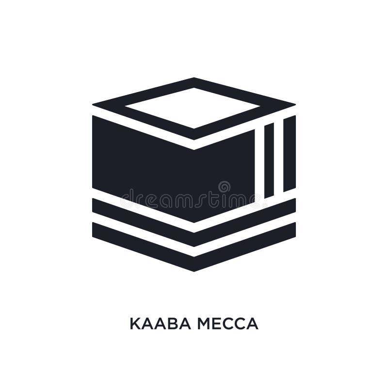 icône de vecteur d'isolement par Mecque noire de kaaba r logo editable de la Mecque de kaaba illustration stock