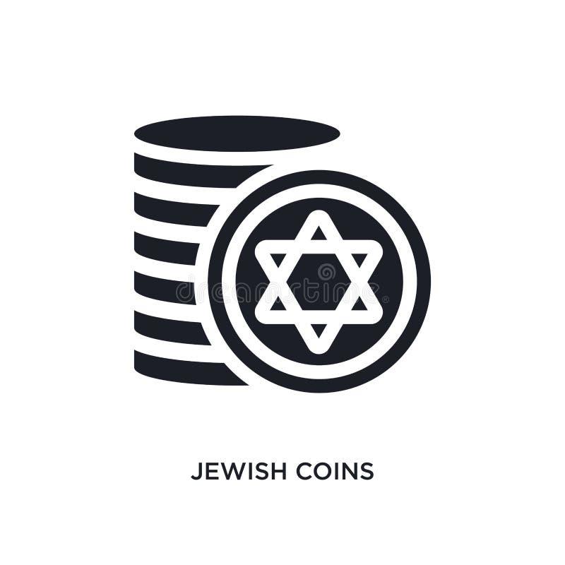 icône de vecteur d'isolement par pièces de monnaie juives noires r pièces de monnaie juives editable illustration de vecteur