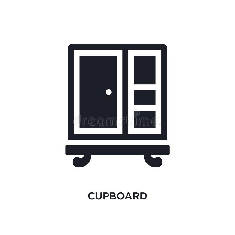 icône de vecteur d'isolement par placard noir illustration simple d'élément des icônes de vecteur de concept de meubles et de mén illustration de vecteur