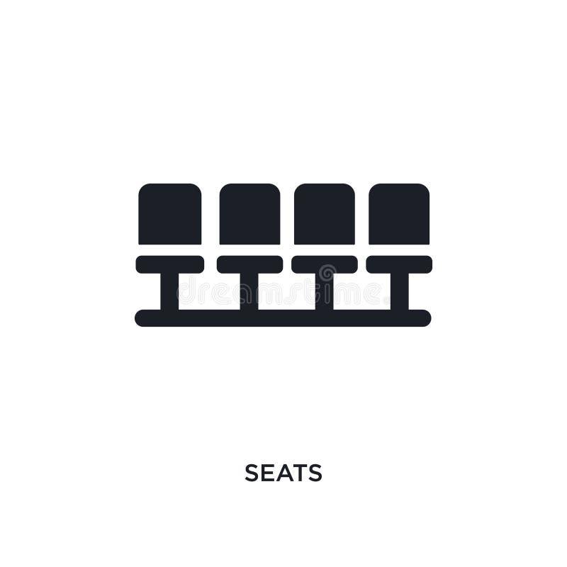 icône de vecteur d'isolement par sièges noirs illustration simple d'élément des icônes de vecteur de concept du football symbole  illustration libre de droits