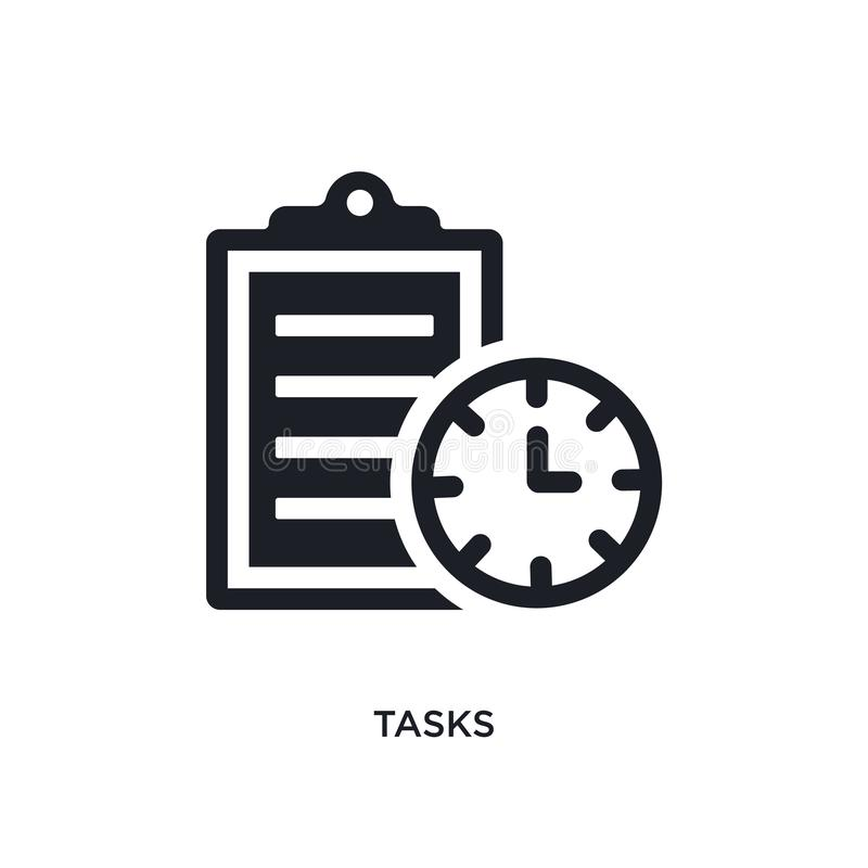 icône de vecteur d'isolement par tâches noires illustration simple d'élément des icônes de vecteur de concept de gestion du temps illustration stock