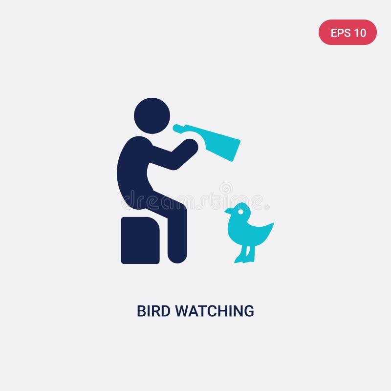 icône de vecteur d'observation d'oiseau de deux couleurs d'activité et de concept de passe-temps le symbole bleu d'isolement de s illustration libre de droits