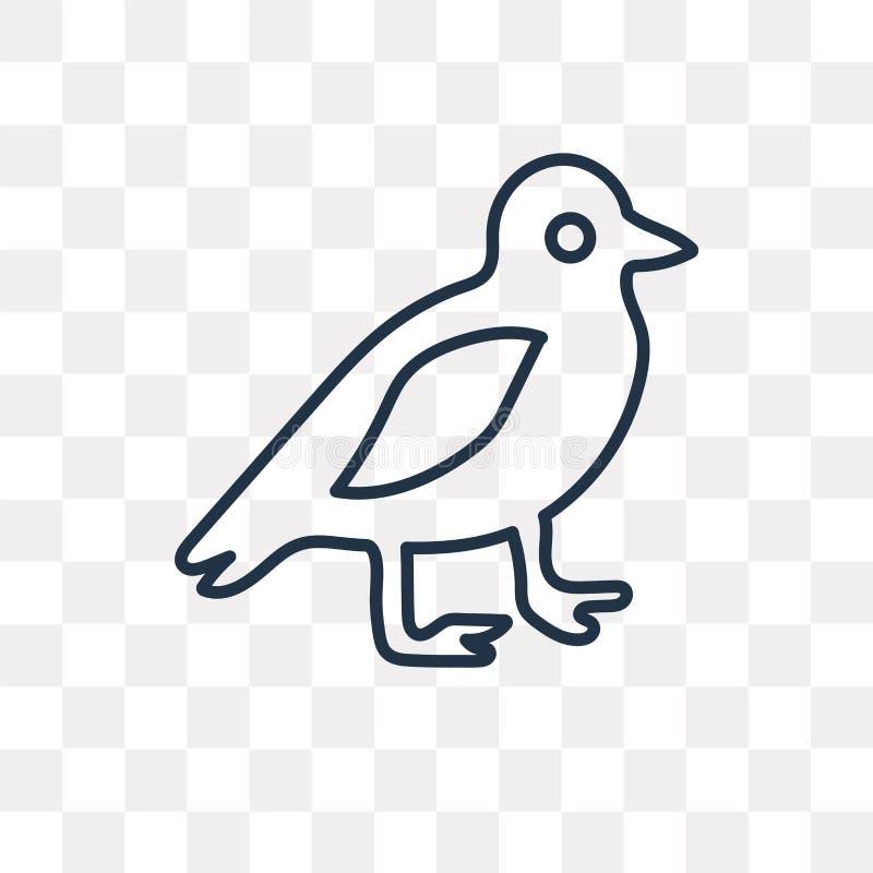 Icône de vecteur d'oiseau d'isolement sur le fond transparent, oiseau linéaire illustration libre de droits
