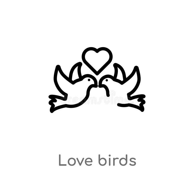 ic?ne de vecteur d'oiseaux d'amour d'ensemble ligne simple noire d'isolement illustration d'?l?ment de f?te d'anniversaire et de  illustration libre de droits