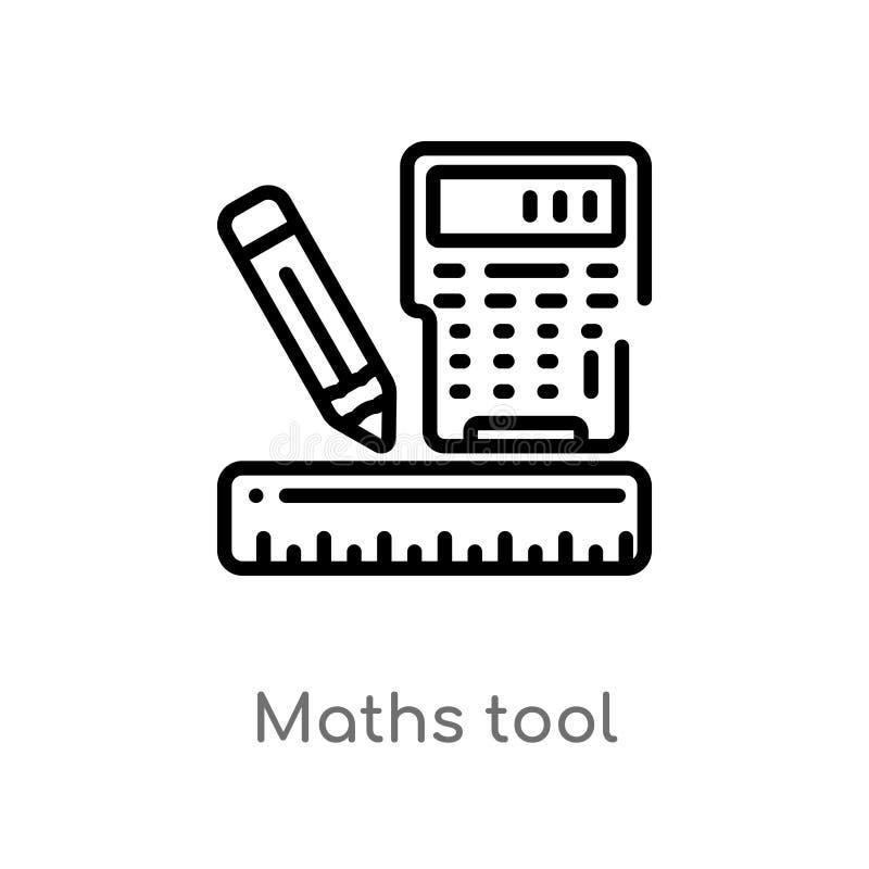 icône de vecteur d'outil de maths d'ensemble ligne simple noire d'isolement illustration d'élément de concept d'affaires Course E illustration stock