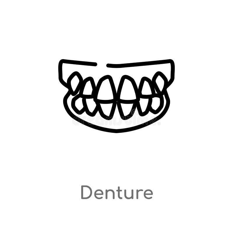 icône de vecteur de dentier d'ensemble ligne simple noire d'isolement illustration d'élément de concept de dentiste dentier edita illustration stock