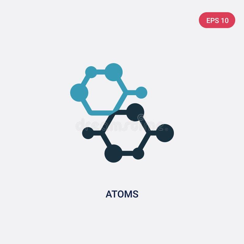 Icône de vecteur de deux atomes de couleur de concept de la science le symbole bleu d'isolement de signe de vecteur d'atomes peut illustration de vecteur