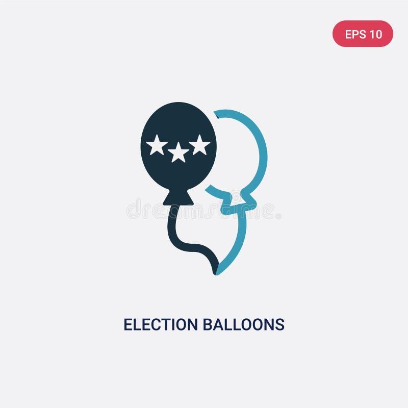 Icône de vecteur de deux de couleur d'élection couples de ballons de concept politique symbole bleu d'isolement de signe de vecte illustration libre de droits