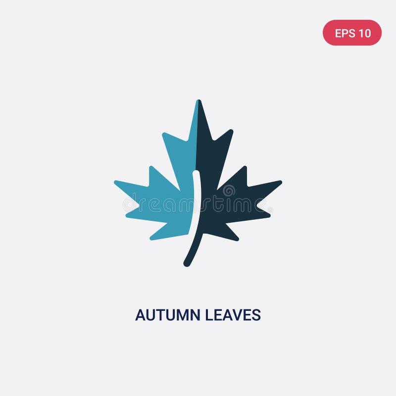 Icône de vecteur de deux de couleur feuilles d'automne de concept de nature le symbole bleu d'isolement de signe de vecteur de fe illustration stock