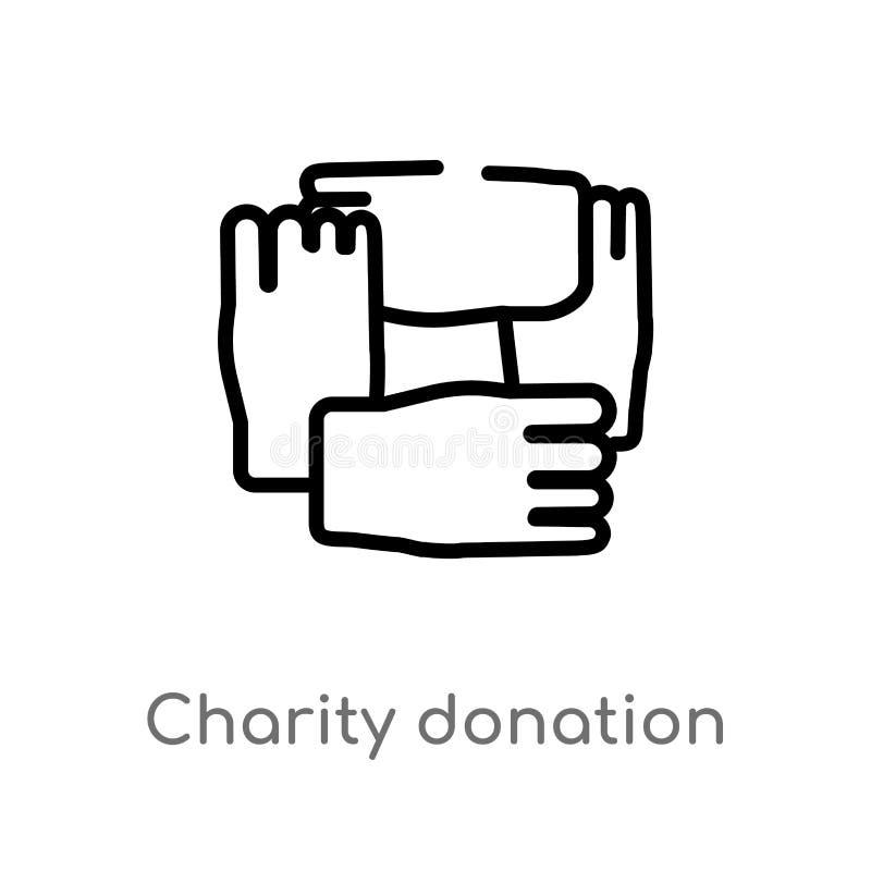 icône de vecteur de donation de charité d'ensemble ligne simple noire d'isolement illustration d'élément de concept de gestes Vec illustration libre de droits