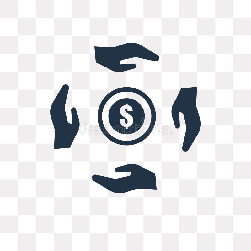 Icône de vecteur de donation d'isolement sur le fond transparent, Donatio illustration de vecteur