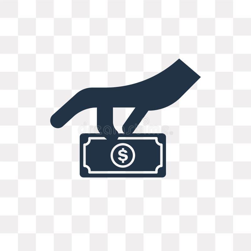 Icône de vecteur de donation d'isolement sur le fond transparent, Donatio illustration stock