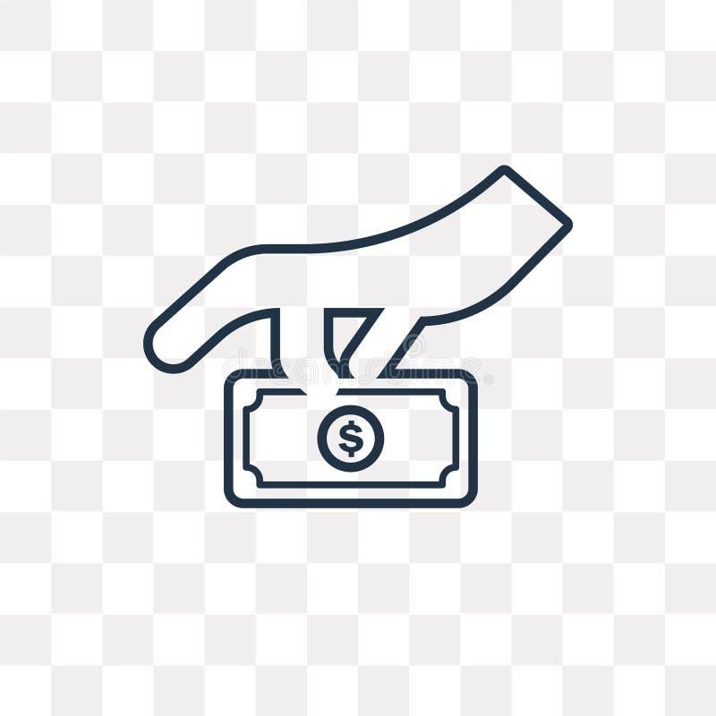 Icône de vecteur de donation d'isolement sur le fond transparent, linéaire illustration stock
