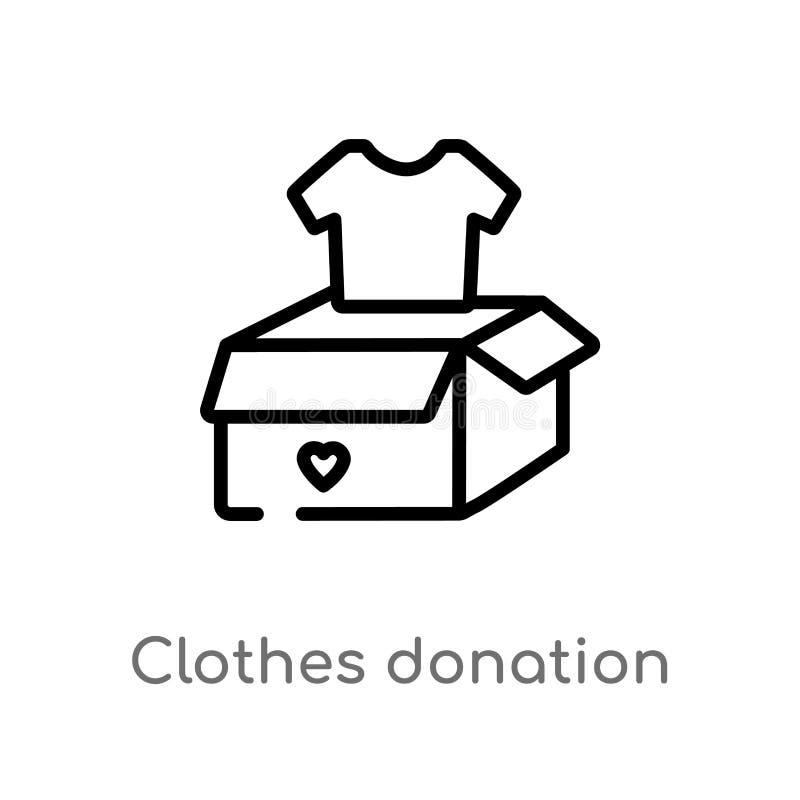 icône de vecteur de donation de vêtements d'ensemble ligne simple noire d'isolement illustration d'élément de concept de charité  illustration stock