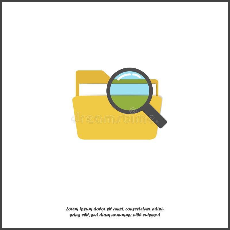 Icône de vecteur de dossier Dossier et loupe Recherche dans un dossier sur le fond d'isolement blanc illustration stock