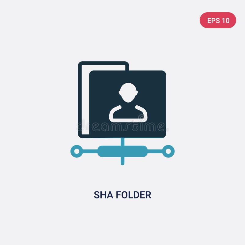 Icône de vecteur de dossier de sha de deux couleurs de concept d'optimisation de moteur de recherche le symbole bleu d'isolement  illustration stock
