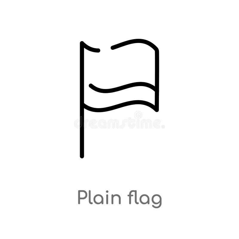 icône de vecteur de drapeau de plaine d'ensemble ligne simple noire d'isolement illustration d'élément des cartes et de concept d illustration stock