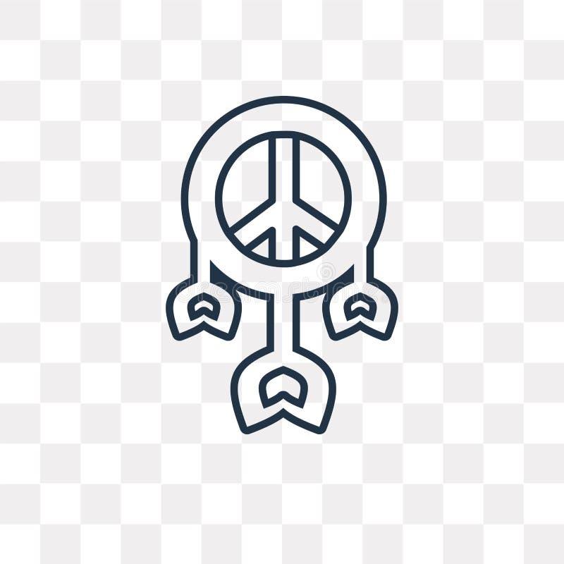 Icône de vecteur de Dreamcatcher d'isolement sur le fond transparent, lin illustration stock