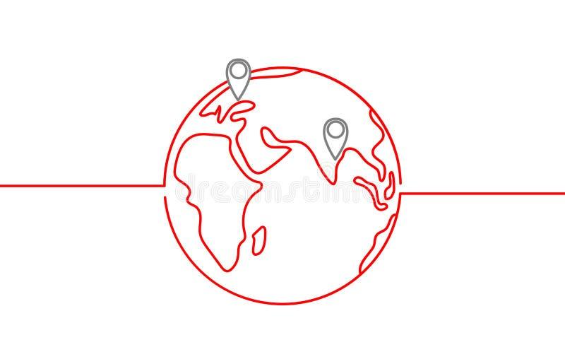 Icône de vecteur du monde avec des destinations et horizon dans la couleur rouge sur le fond blanc illustration libre de droits