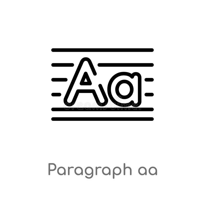 icône de vecteur du paragraphe aa d'ensemble ligne simple noire d'isolement illustration d'?l?ment de l'autre concept Course Edit illustration de vecteur