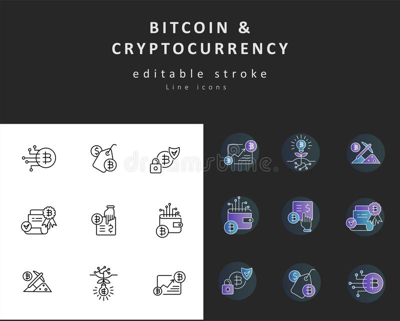 Icône de vecteur et bitcoin et cryptocurrency de logo Course Editable d'ensemble illustration de vecteur