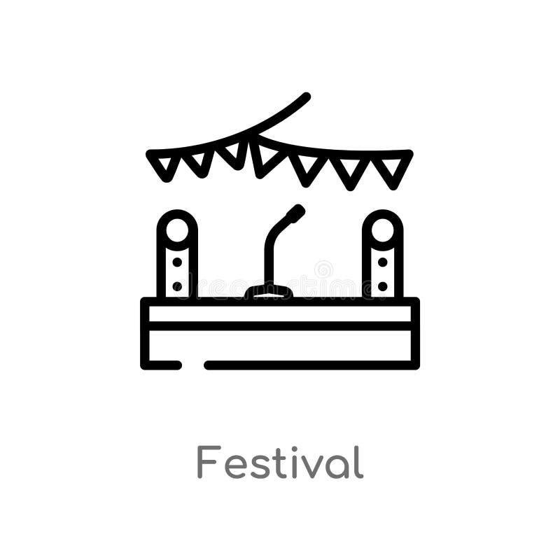 icône de vecteur de festival d'ensemble ligne simple noire d'isolement illustration d'?l?ment de divertissement et de concept d'a illustration de vecteur