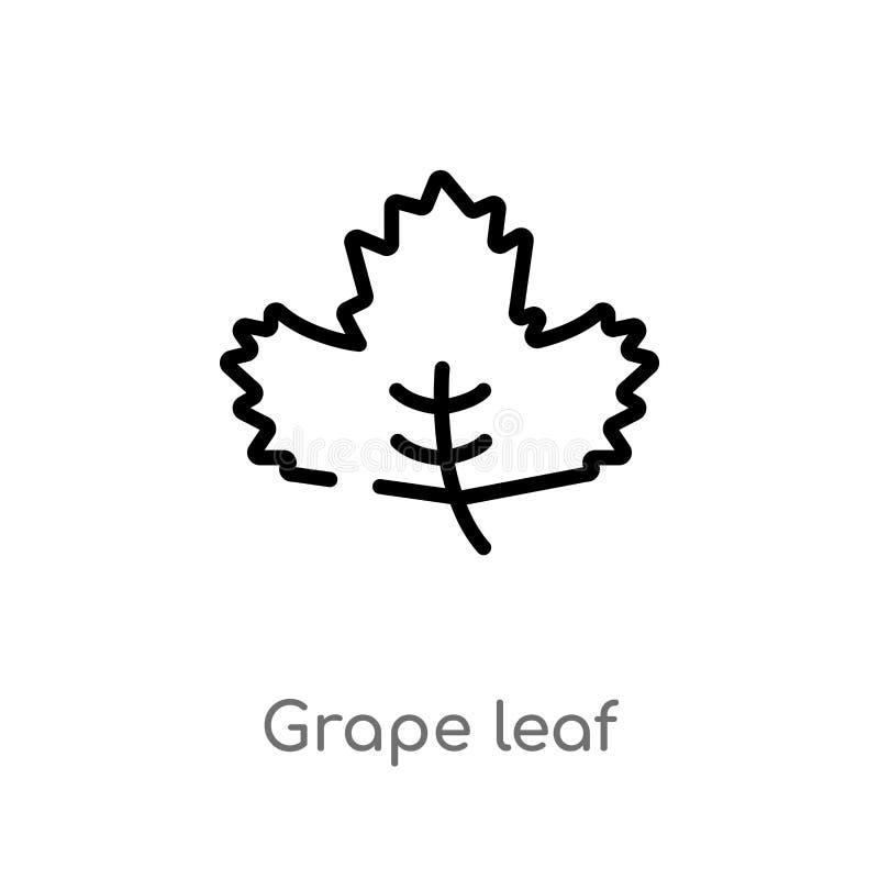icône de vecteur de feuille de raisin d'ensemble ligne simple noire d'isolement illustration d'élément de concept de nature raisi illustration stock
