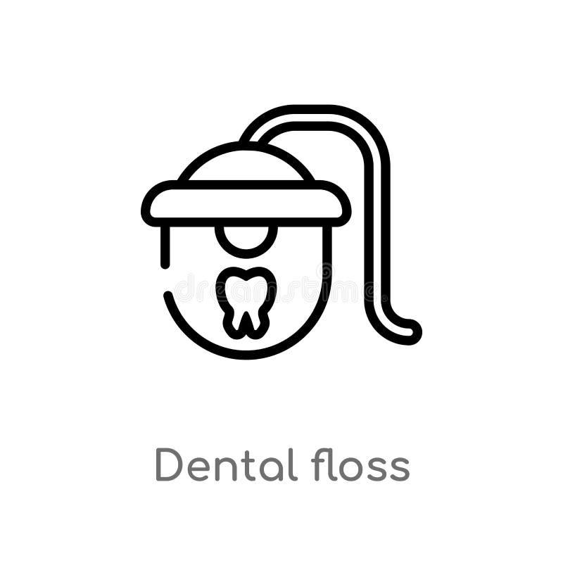 ic?ne de vecteur de fil dentaire d'ensemble ligne simple noire d'isolement illustration d'?l?ment de concept de dentiste Course E illustration de vecteur