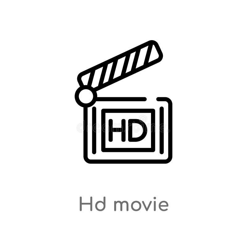 icône de vecteur de film de hd d'ensemble ligne simple noire d'isolement illustration d'élément de concept de cinéma film editabl illustration stock
