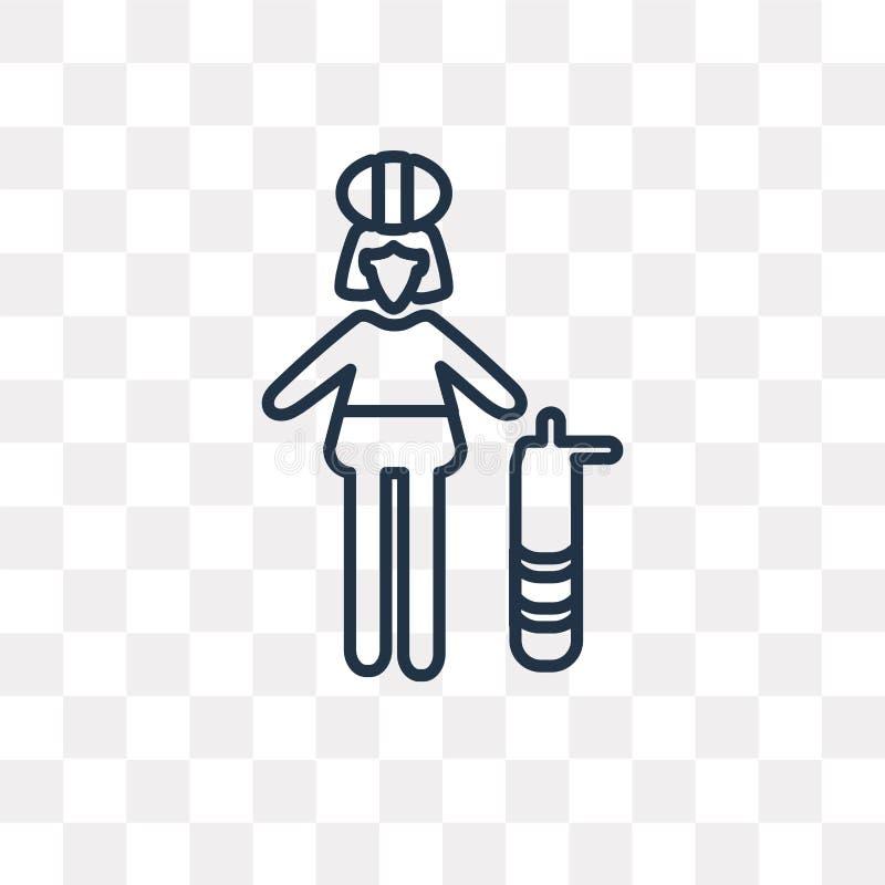 Icône de vecteur de Firewoman d'isolement sur le fond transparent, linéaire illustration libre de droits