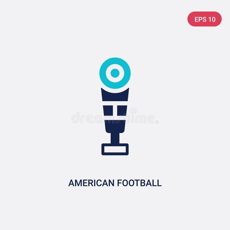 Icône de vecteur de football américain de deux couleurs de concept le symbole bleu d'isolement de signe de vecteur de football am illustration stock
