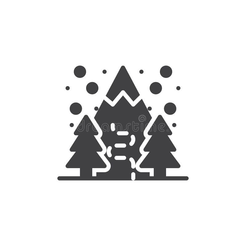 Icône de vecteur de forêt de montagne d'hiver illustration libre de droits