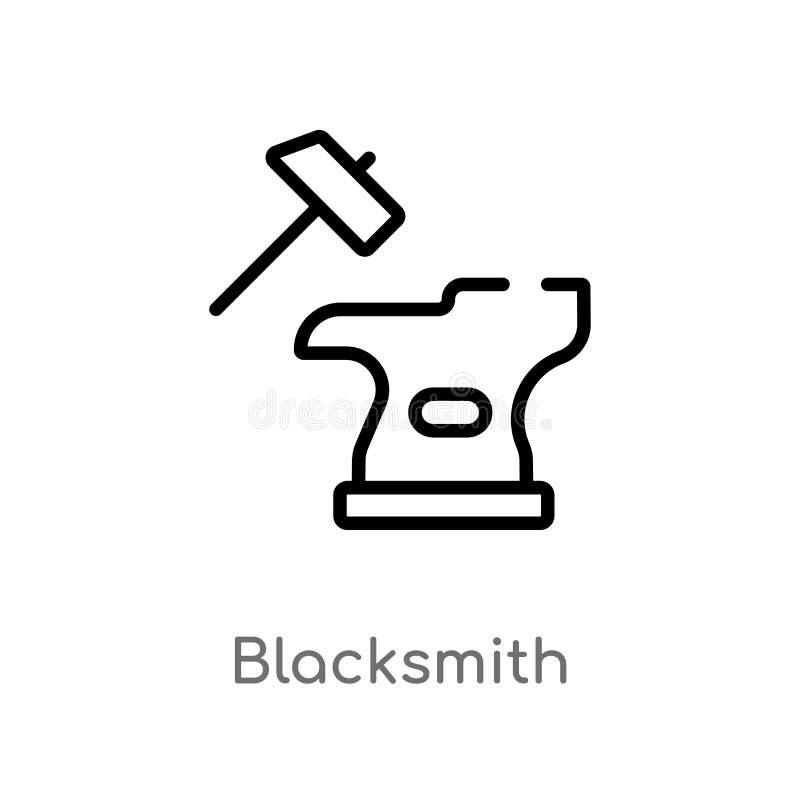 icône de vecteur de forgeron d'ensemble ligne simple noire d'isolement illustration d'élément de concept de cultures Course Edita illustration de vecteur