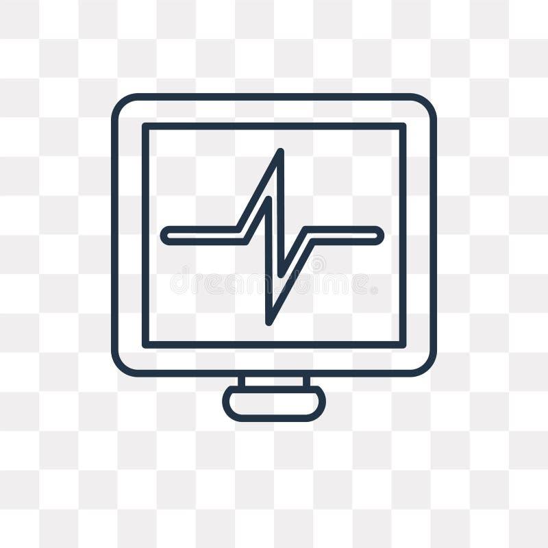 Icône de vecteur de fréquence cardiaque d'isolement sur le fond transparent, linea illustration libre de droits